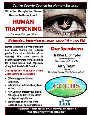 CCCHS Human Trafficking Zoom Training