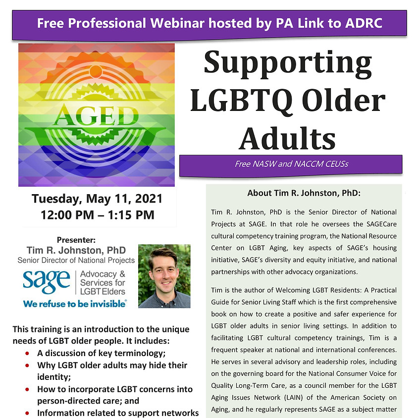 Webinar: Supporting LGBTQ Older Adults