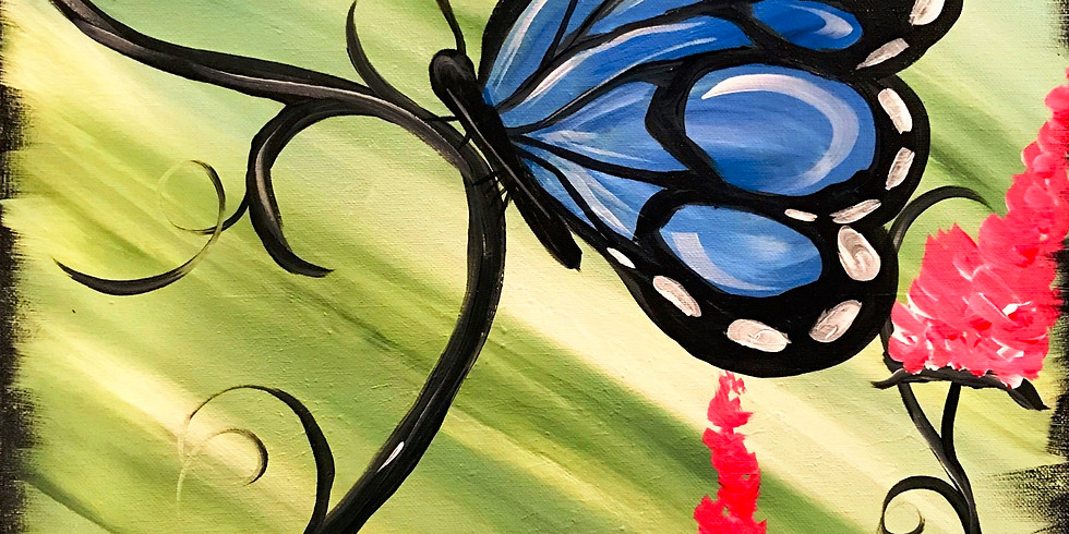 """""""Butterfly Garden"""" Canvas Painting Party with 2U (18 & up)"""