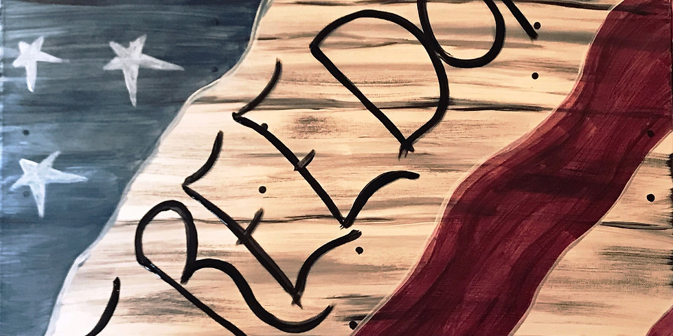 """""""Barn Wood Flag"""" 2U Painting Party (16&up)"""