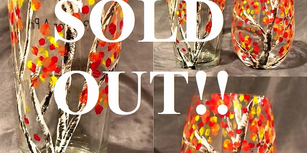 """SOLD OUT """"Fall Birch"""" Glassware 2U Painting Party (18yrs+)"""