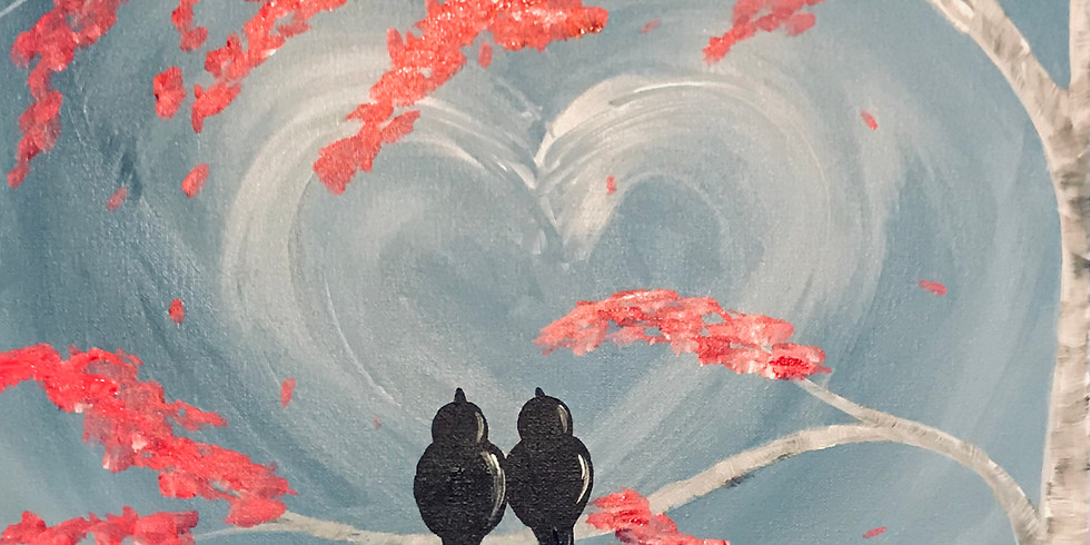 """""""Love Birds"""" Canvas Painting Party with 2U (16 & up)"""