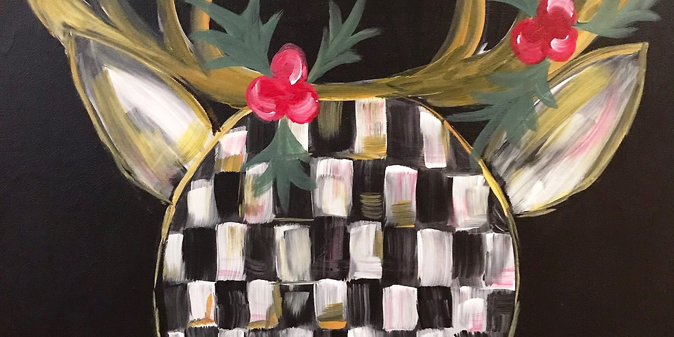 """SOLD OUT """"Checkered Reindeer"""" Painting Party with 2U"""