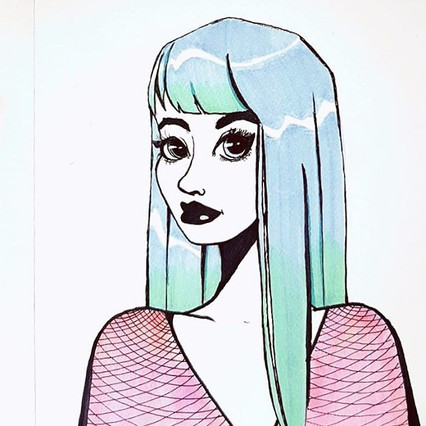 #punk #punkrock #girldrawing #bluehair #