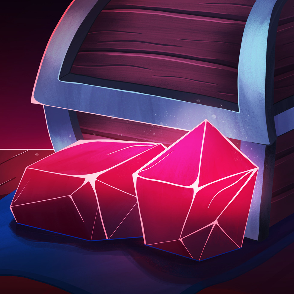 Chest and gems