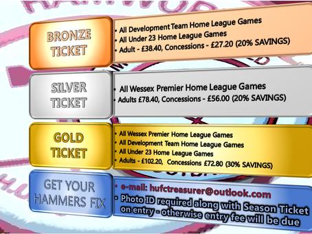 Season Tickets new prices