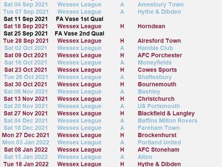 Provisional Fixtures 2021/22 Season