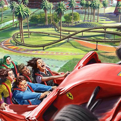 Entrée pour Ferrari World à Abu Dhabi, et entrée coupe fil
