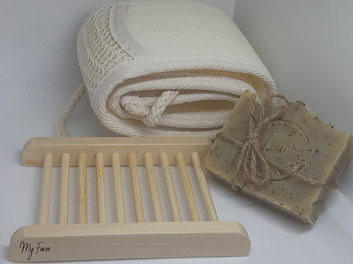 1 Soap 100 % Organic , Vegan + Bamboo Soap Dish and big Glove Exfoliating Loofah