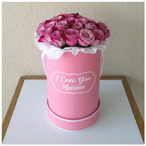 Bouquet de 30 Roses + Boite avec texte Customisable livré à Dubai