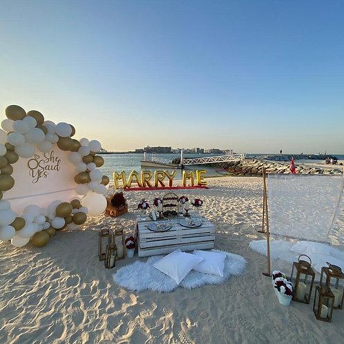 Demande en mariage sur la plage à Dubai
