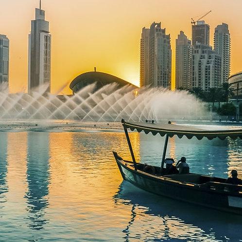 Spectacle des fontaines et Balade en bateau sur lac au pied de Burj Khalifa