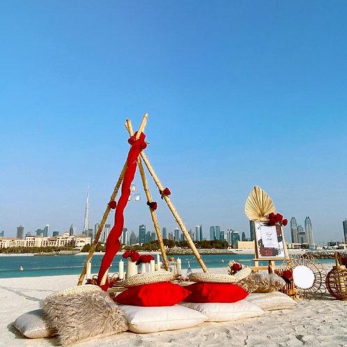 Set up romantique sur la plage à Dubai