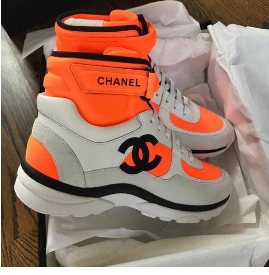 Chanel 18P white orange high top