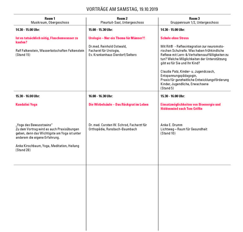 Vorträge Sonntag 2