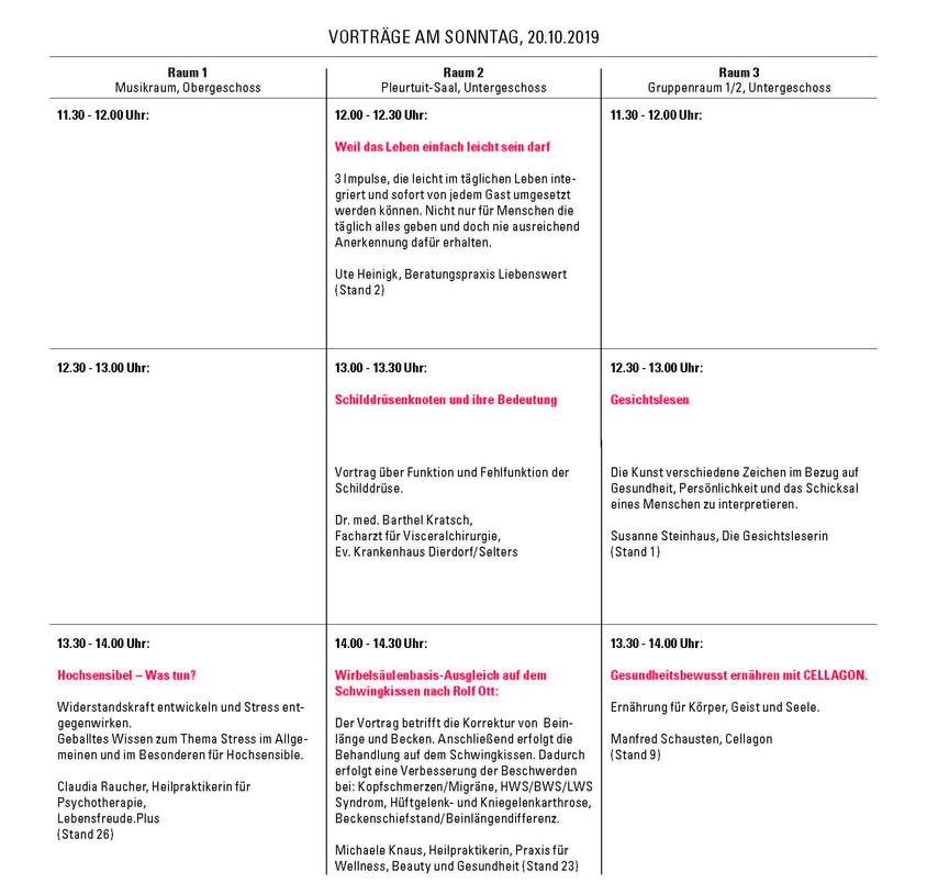 Vorträge Sonntag 1