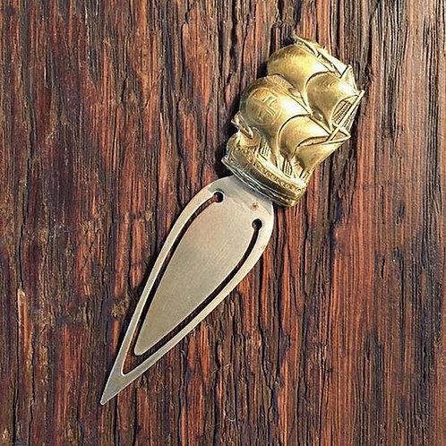 Sailing Vessel - Vintage Brass Book Mark - England