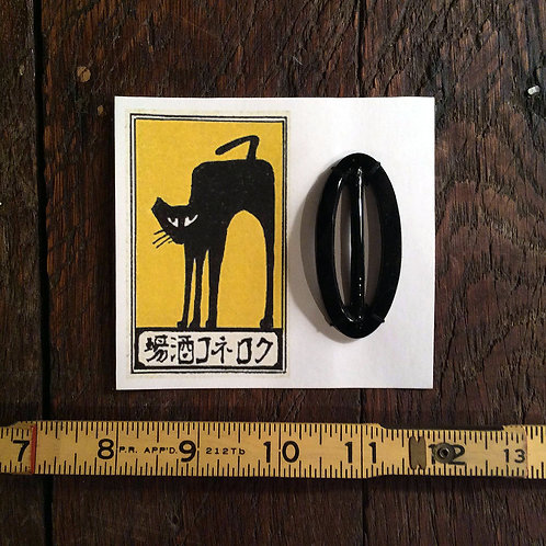 Vintage Scarf Clip on Copy of Vintage Match Label - Black Cat