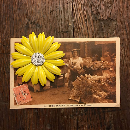 Vintage French Postcard with Enameled Yellow Flower Brooch