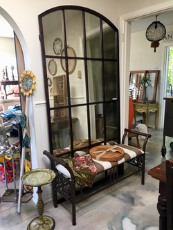 Iron Full Length Mirror with Bench