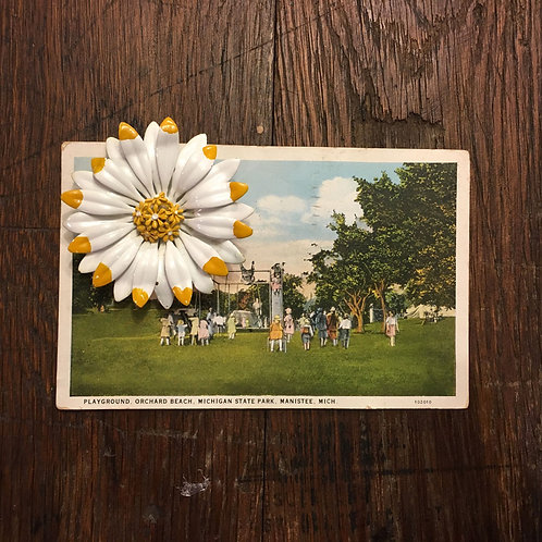 Vintage US Postcard with Enameled Flower Brooch