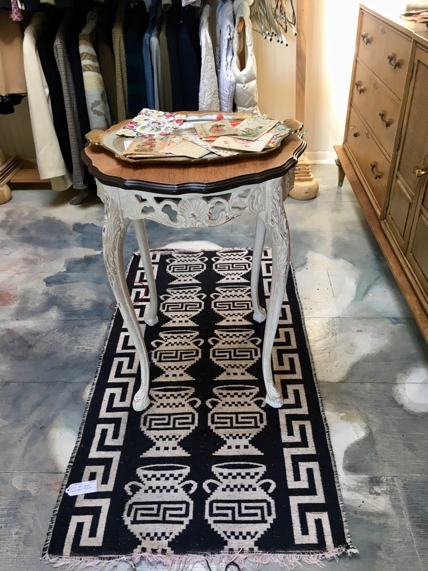 Side Table on Hand Woven Area Rug