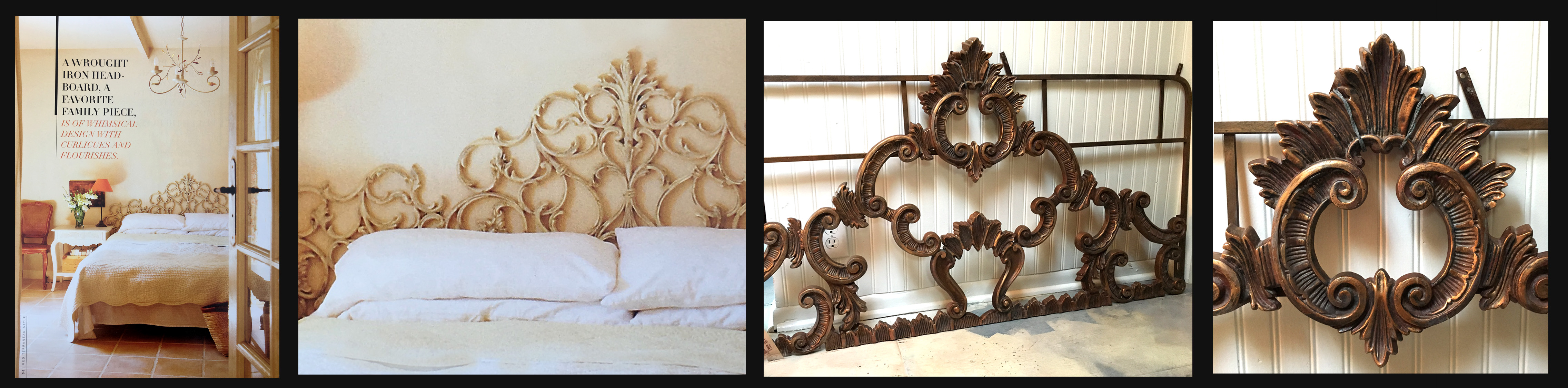 Antique Cast Iron French Bedframe
