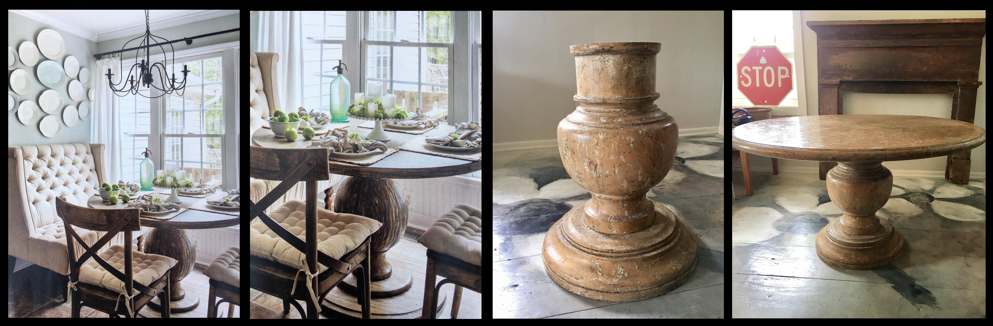 Round Farmhouse Balustrade Table