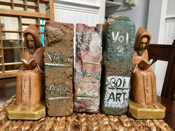 Monk Bookends with Brick Books