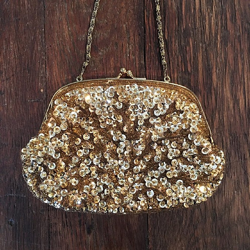 Vintage Gold Sequin Evening Clutch with Optional Strap