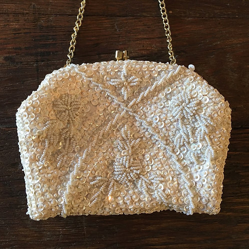 Vintage White Bead and Sequin Clutch with Optional Strap