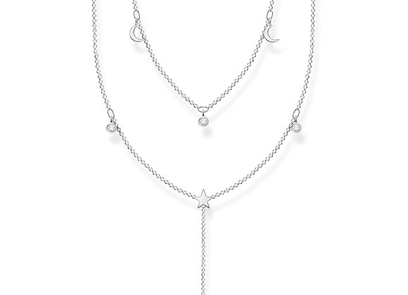 COLLIER DOUBLE PIERRES BLANCHES ARGENT