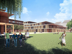 view of courtyard system of university residential area