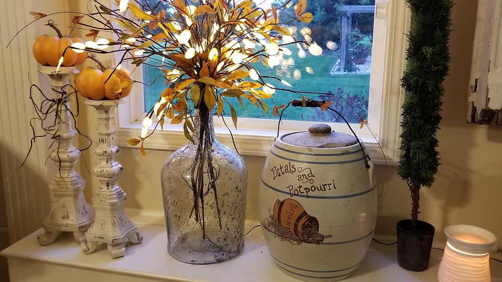 Window Seat with Petals & Potpourri Crock