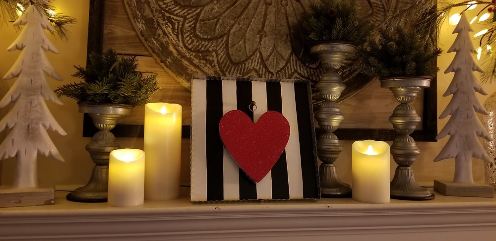 White Stripped Gallery Board with Red Heart