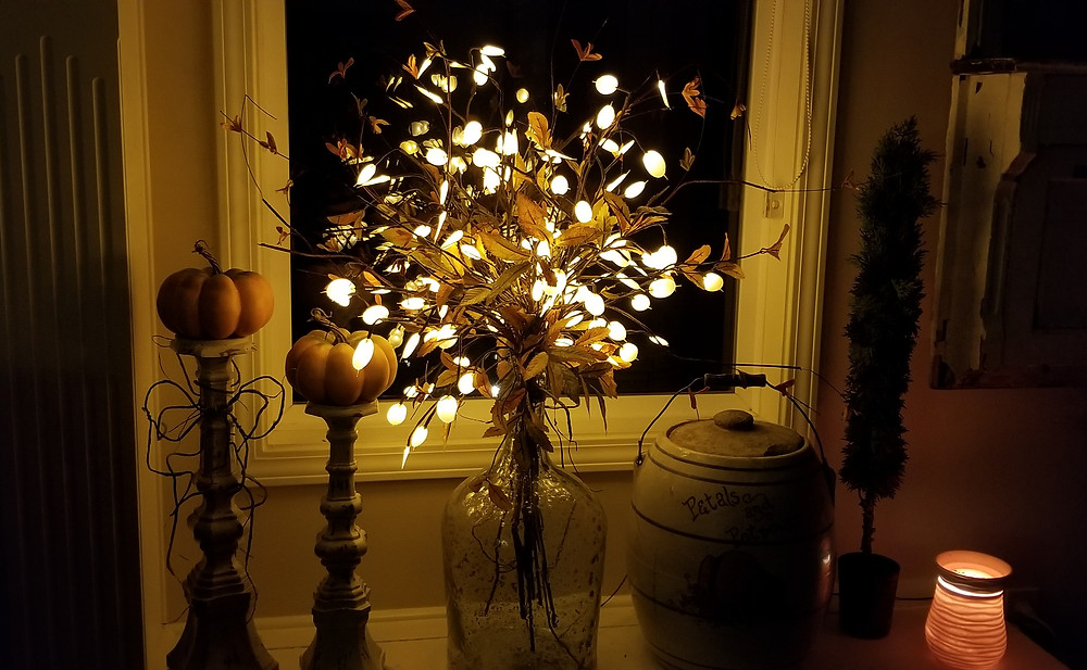 Fall Window Seat with Lighted Branches