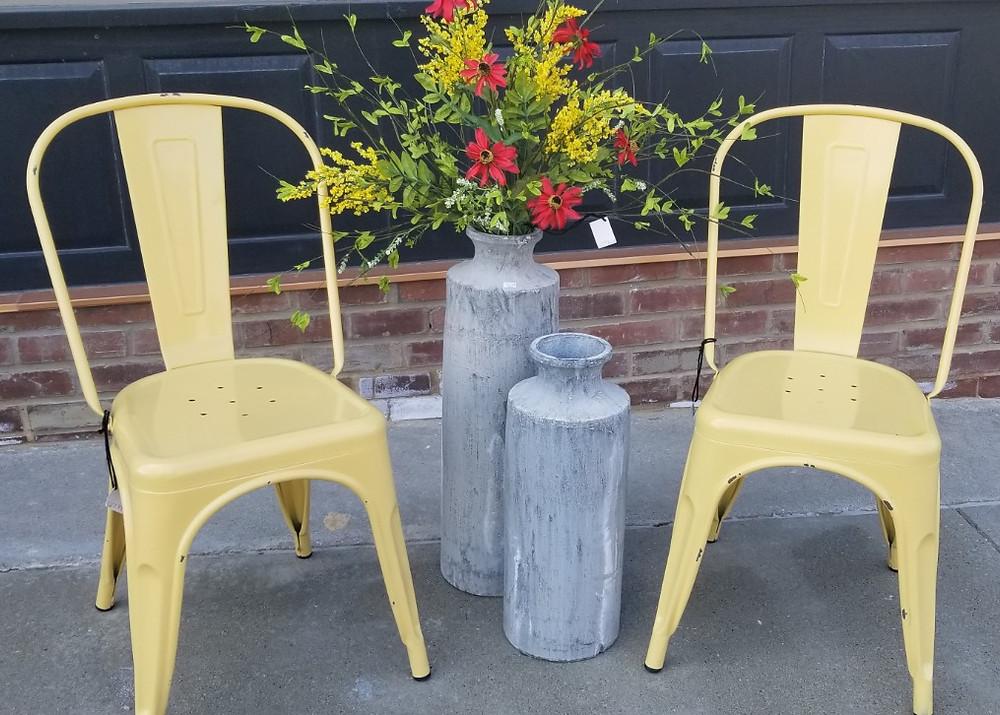 Sunny Yellow Metal Chairs