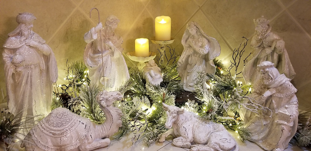 White and Glittery Nativity Scene