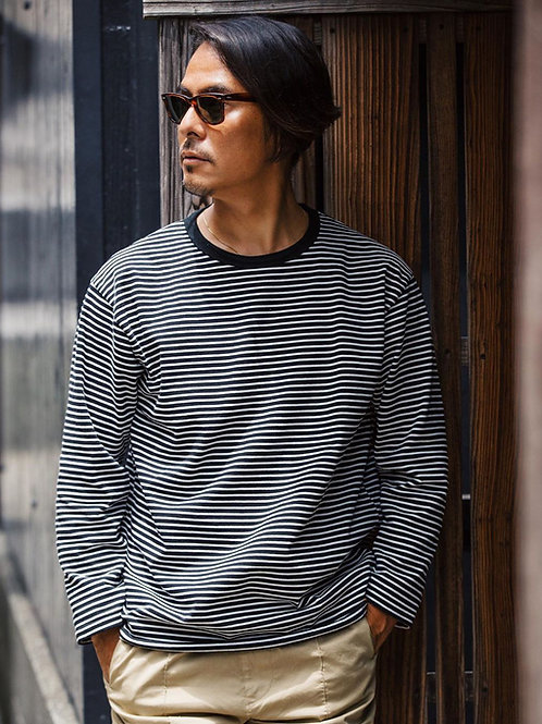 Seaside Boarder L/S tee 20FW-007 Black×White