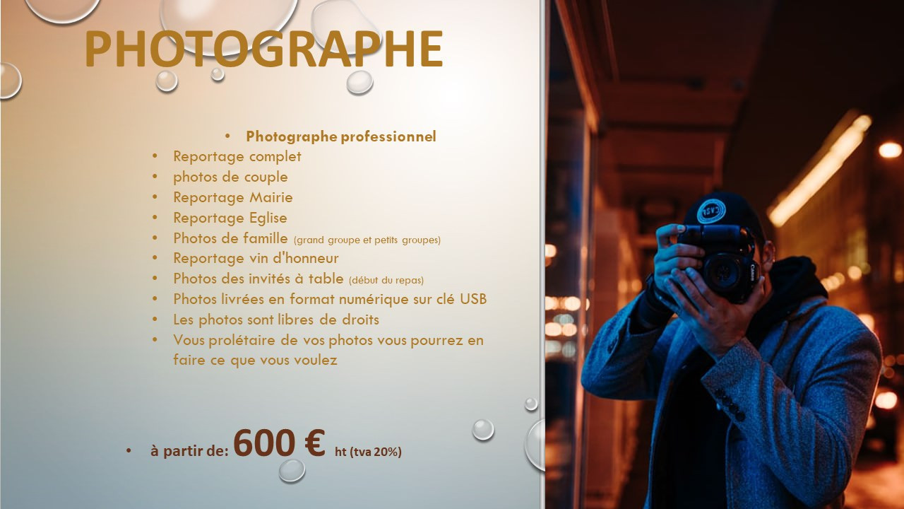 Tarif Photographe