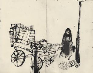 Woman shopping at the market, London