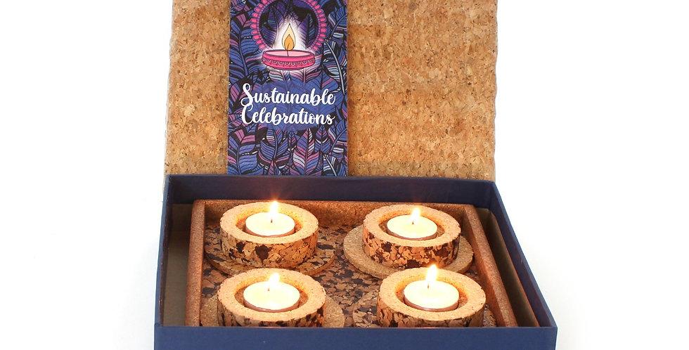 Cork candle tray set