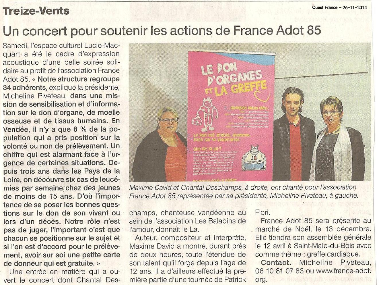 Ouest France - Treize Vents 26-11-2014