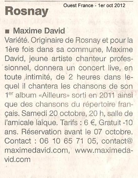Article Ouest France 1-10-2012