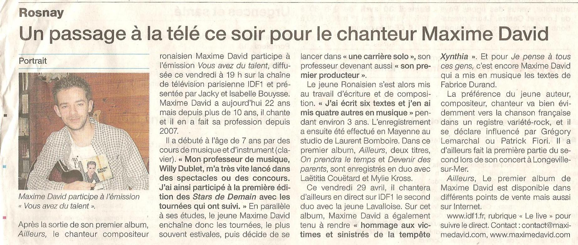 Article passage TV IDF1