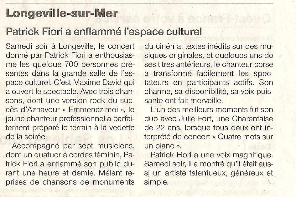 Article presse Concert Patrick Fiori
