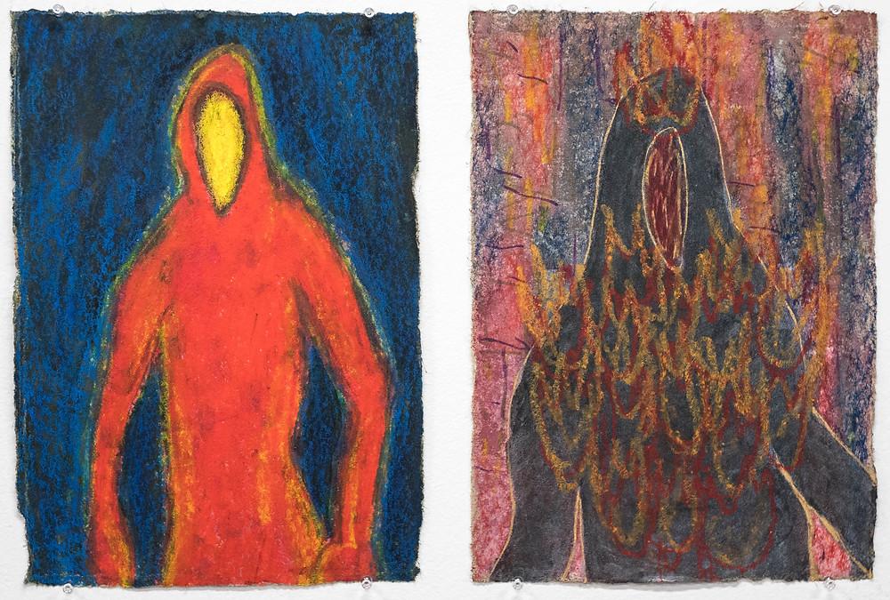 """Gloomy Loomer"" Mixed media on handmade paper, 10 1/2 x 13 1/2"