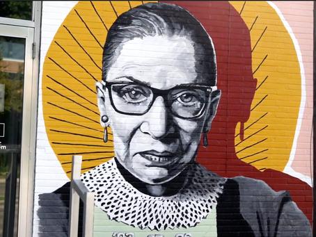 """Artist Haylee Ryan Talks About Her RBG Mural, """"A Work in Progress"""""""