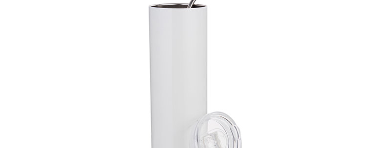 Skinny Stainless Steel Tumbler 20 oz Straw & Lid (White)