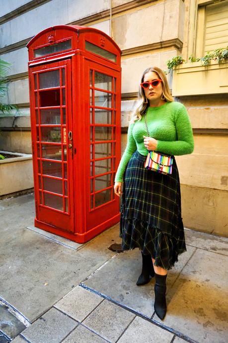 GREEN: Fuzzy Sweater & Plaid Skirt